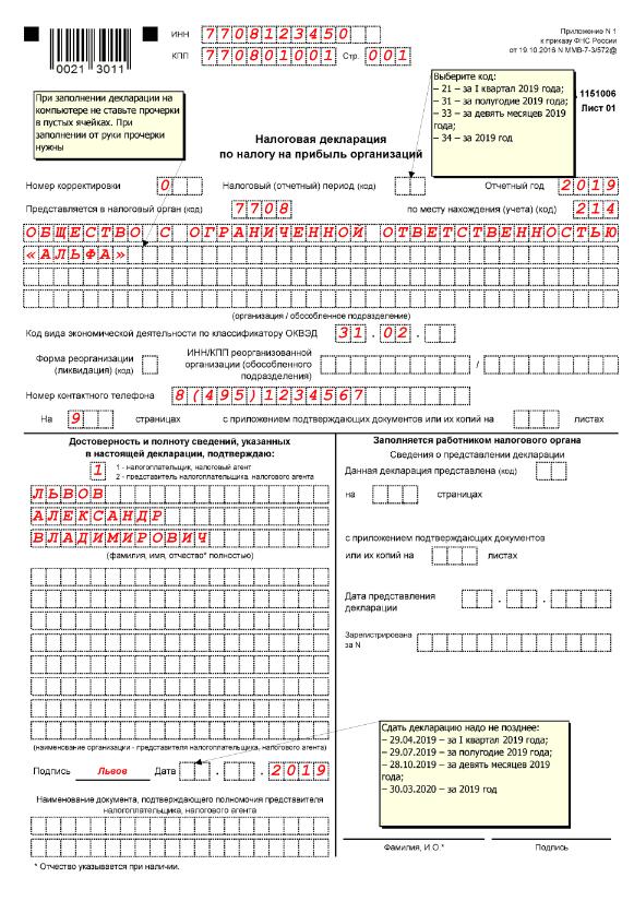 Как расчитать налог на прибыль и заполнить декларацию за год