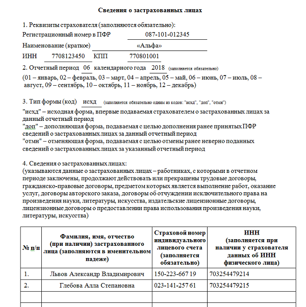 Образец СЗВ-М за июнь 2018